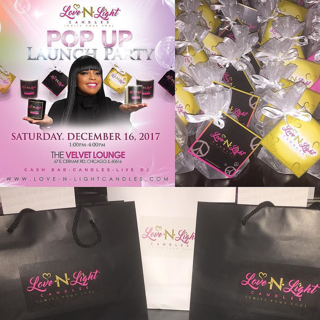"Happy Monday Social Media Family! I'm Sooooo excited because the countdown is ON!! ""Issa....Pop Up Shop"" -Launch Party Celebration for Love-N-Light Candles! I'm going to be there and I hope you are too! Make sure you stop by Velvet Lounge on 12/16 and shop with me from 1-4pm! Love-N-Light Candles are excellent gifts for you and others! I look forward to seeing you!"